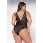 8476X Sheer Lace Bodysuit Color Black