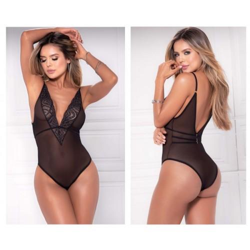 8476 Sheer Lace Bodysuit Color Black