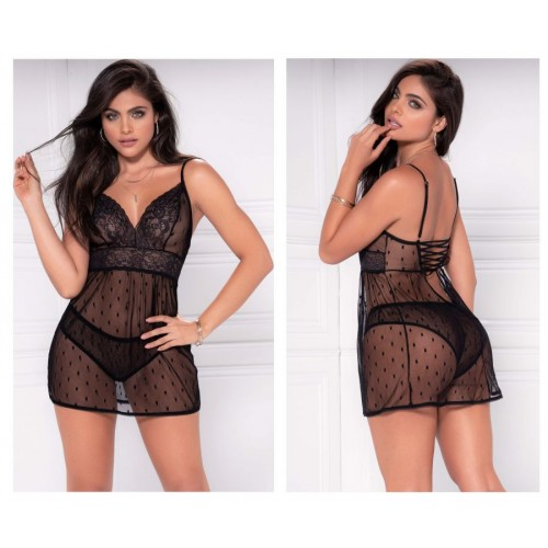 8477 Babydoll with Matching G-String Color Black