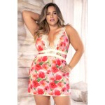 8489X Babydoll with Matching G-String Color Floral Print