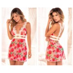 8489 Babydoll with Matching G-String Color Floral Print