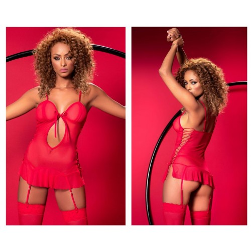 8525 Babydoll with Matching G-String Color Red