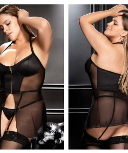 7369X Babydoll with Matching G-String Color Black