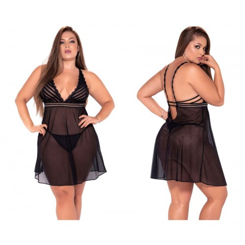 7244X Babydoll With Matching G-String Color Black
