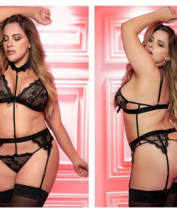 8277X Teddy With Garters Color Black