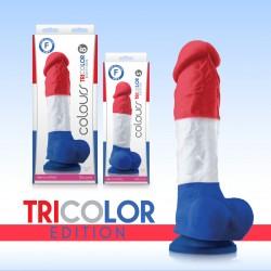 Colours Tricolor Red, White & Blue Silicone Dildo