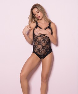 Amber Open Cup Crotchless Teddy