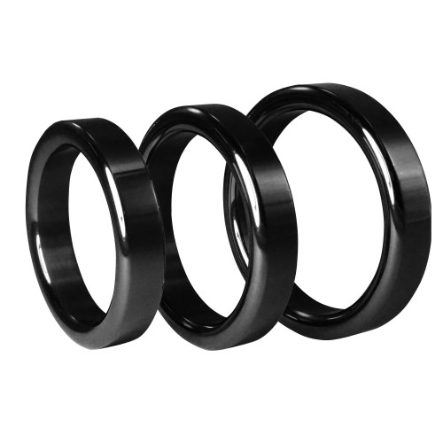 Metallic Black Stainless Steel Cock Ring