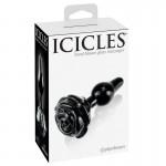 Icicles No. 77 Black Rose Glass Butt Plug