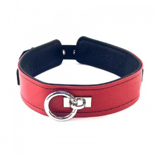 Rouge Plain Leather Collar