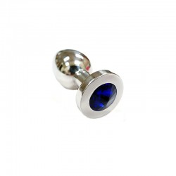 Stainless Steel Royal Blue Crystal Butt Plug Medium