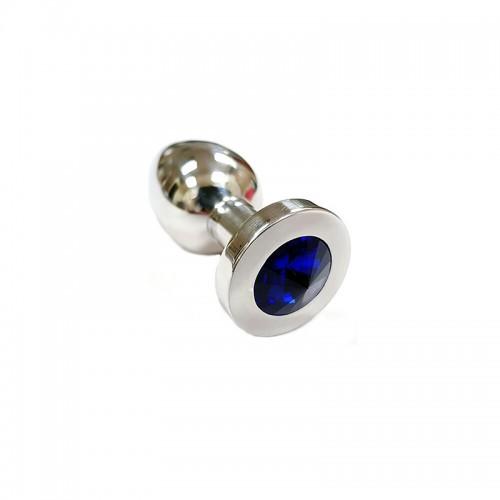 Stainless Steel Royal Blue Crystal Butt Plug Medium