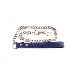Genuine Blue Leather Lead with Chain