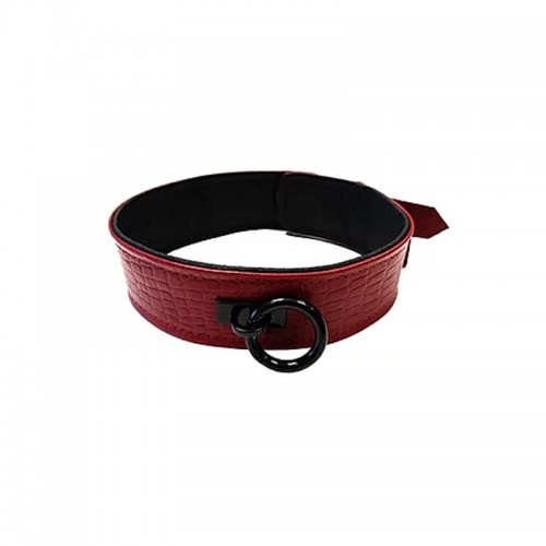 Burgundy Anaconda Leather Neck Collar