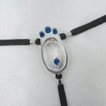 Sapphire Crystal Jeweled Silver G-String with Clitoral Pendant