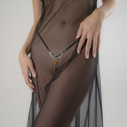 """Kiss of Isis"" Gold G-String with Clitoral Drop Pendant"