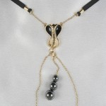 Cobra G-String with Hematite Pleasure Pendant in Gold or Silver