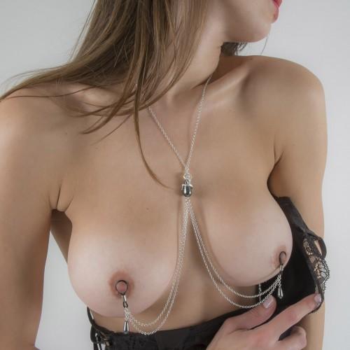 Secret Passion Hematite Pendant Non-Piercing Nipple Necklace Breast Chain