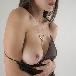 """Breath of Isis"" Non-Piercing Nipple Necklace Breast Chain in Gold"