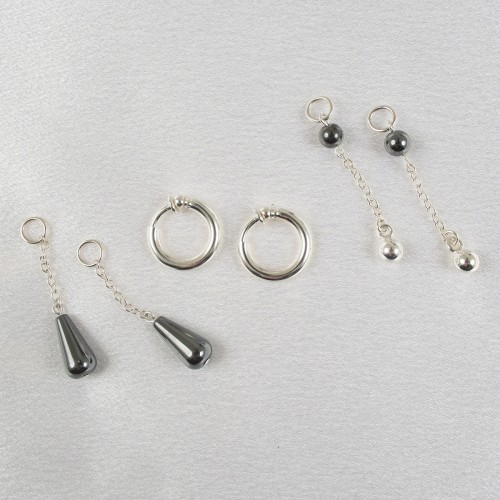 3- in-1 Hematite Labia Jewelry Ring Set Non Piercing in Gold or Silver