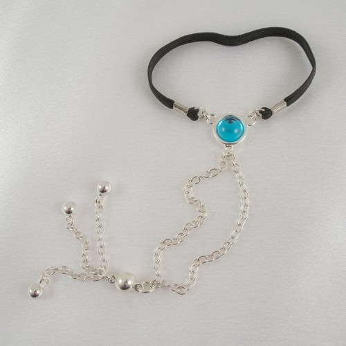 Silver Penis Chain with Blue Crystal Gems and Tassels