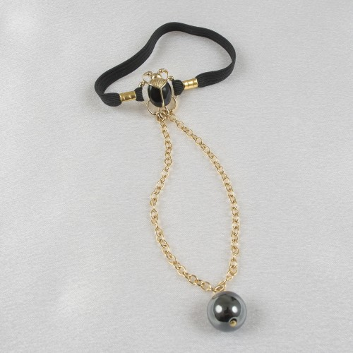 Scarab Penis Chain Jewelry with Hematite Pearl Pendant