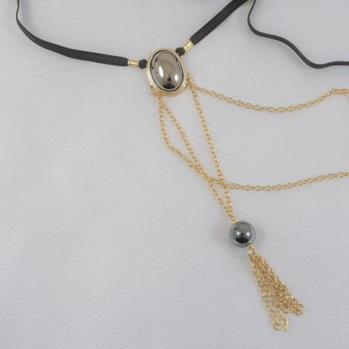 Secret For Him Gold G-String With Hematite Stones