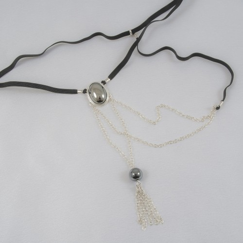 Secret For Him Silver G-String With Hematite Stones