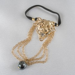 Lion's Head Penis Chain Bracelet with Hematite Gem in Gold or Silver