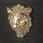Men's Gold Lions Head Leather G-String