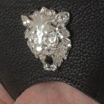 Men's Silver Lions Head Leather G-String