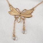 Butterfly Waist Chain with Dangling Crystals in Gold or Silver