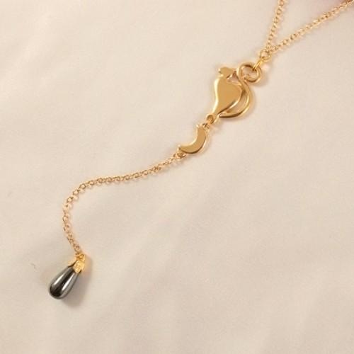 Crescent Moon & Cat Gold Waist Chain with Hematite Pendant