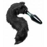 Midnight Black Fox Tail Glass Anal Plug