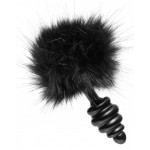 Black Bunny Tail Metal Ribbed Anal Plug