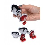 Red Gem With Bells Metal Anal Plug Set