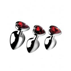 Ruby Red Heart Gem Anal Plug Set