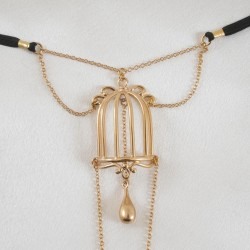Bird Cage Gold G-String with Pleasure Pendant