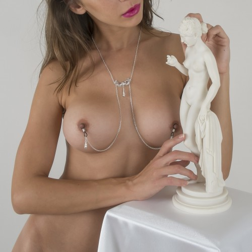 Love Mask Of Venice Non-Piercing Nipple Necklace Silver