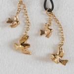 Birds In Flight Gold Non-Piercing Nipple Rings
